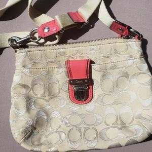Coach cream and salmon colored crossbody